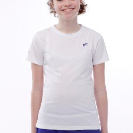 TEE SHIRT COTON LOGO SIMPLE FILLE BLANC
